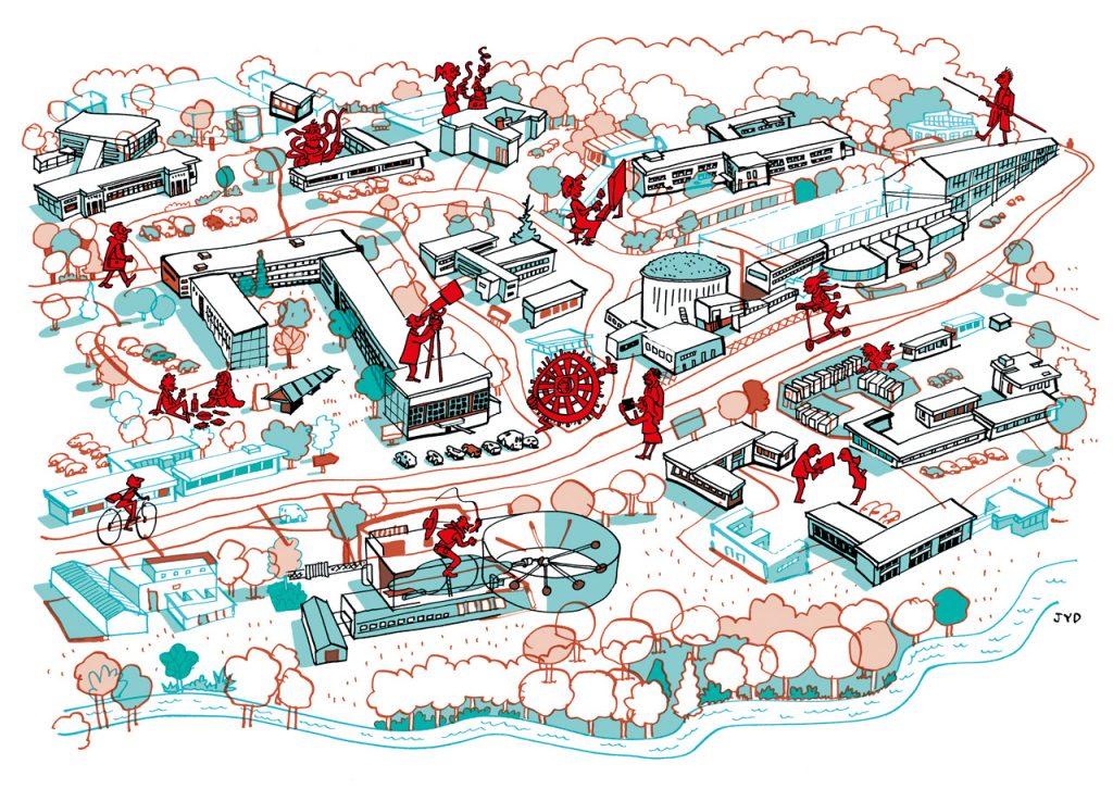 Les bâtiments d'IJCLab sur le campus universitaire d'Orsay, par Jean-Yves Duhoo, auteur illustrateur